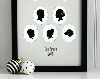 Custom Family Portrait Silhouette Print - made from your photo - Personalized Portrait, Portrait Family, Family Silhouette