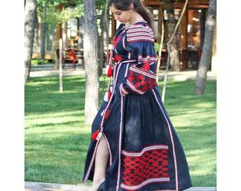 Embroidered Dress Ukrainian Vyshyvanka Mexican dress Hijab Linen Kaftan Abaya Caftan Boho dress Bohemian linen maxi dress
