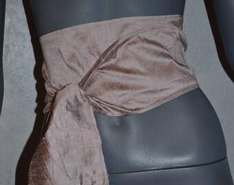 Vintage silk fringed wide wrap belt. By Carol Company 80s Flesh pink shimmer obi wrap sash.  Textile deadstock.