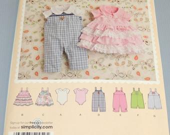 Simplicity 2459 XXS to L Baby Romper and Bodysuit Uncut