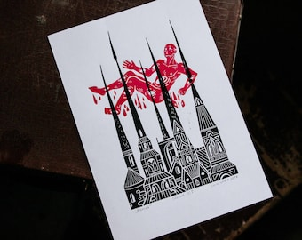 OUT OF STEP, handprinted linocut wall poster