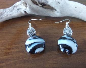 Black and white Zebra earrings