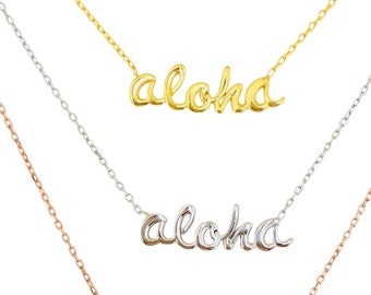 Aloha Necklace in Sterling Silver, Dainty Looking and Made To Last, Hawaii Gifts