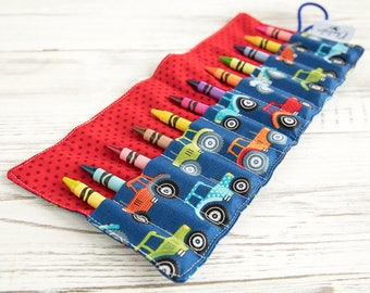 Crayon roll, Tractor, Crayon holder, Pencil roll, Gift for girls, Gift for boys, Birthday party favours, Back to school, Art, Colouring