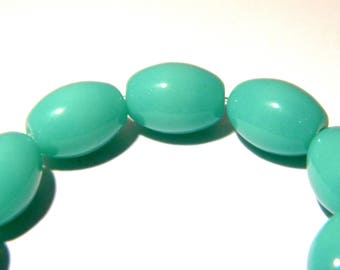 10 beads - 11 x 8 mm-turquoise - oval glass bead opaque - 5 K02