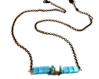 Israeli Eilat stone, unique and Genuine stones with Turquoise Blue geometric cube beads, antique bronze, Minimalist, Modern necklace