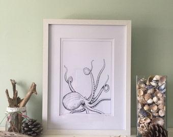 Monochrome Kraken, A4 Signed Limited Edition Print 1/50 Unique Illustration.