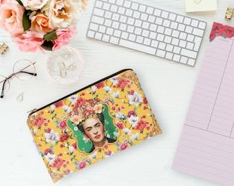 Yellow Frida Kahlo Purse wallet pencil case hand bag clucth woman Cigarette Sunglasses Makeup case cell mobile toiletry bag zipper pouch