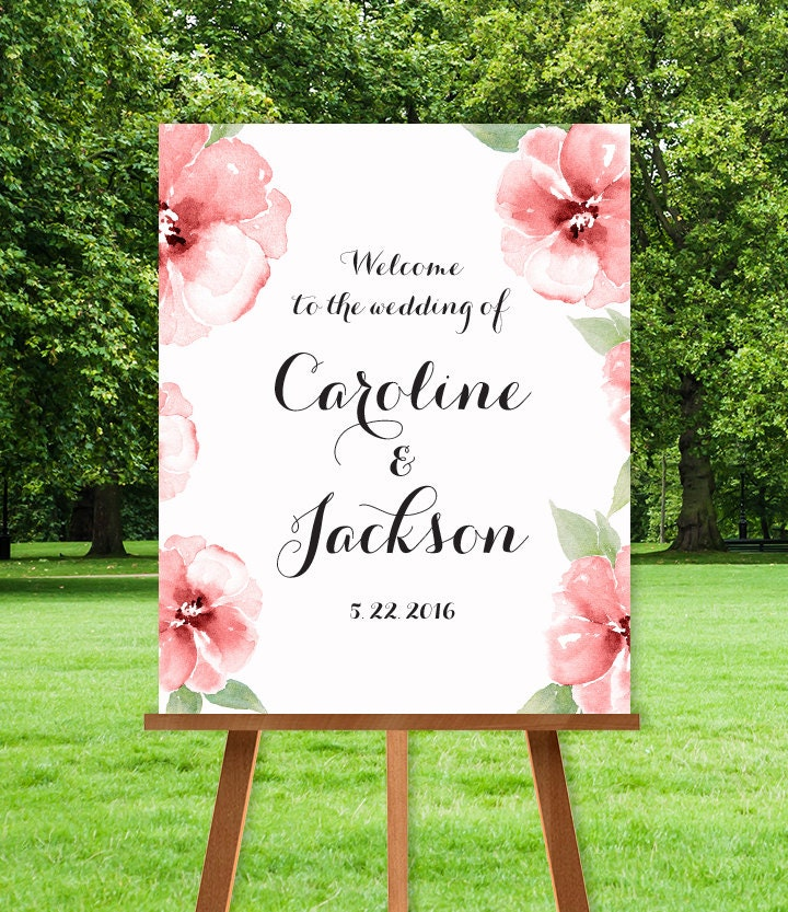 Floral Wedding Welcome Sign DIY / The CAROLINE / Pink Watercolor ...