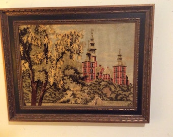 FREE SHIPPING Wood Frame Woven/Tapestry Style Picture