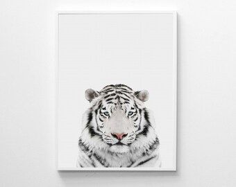 White Tiger Print, Nursery Animal Print, Animal Wall Art, Tiger Print, Nursery Printable Art