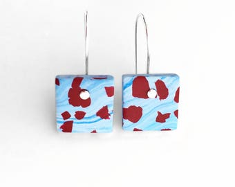 Handmade Polymer Clay Square Earrings on Sterling Silver Hooks - Blue and Dark Red