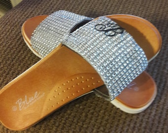Womens silver bling slippers