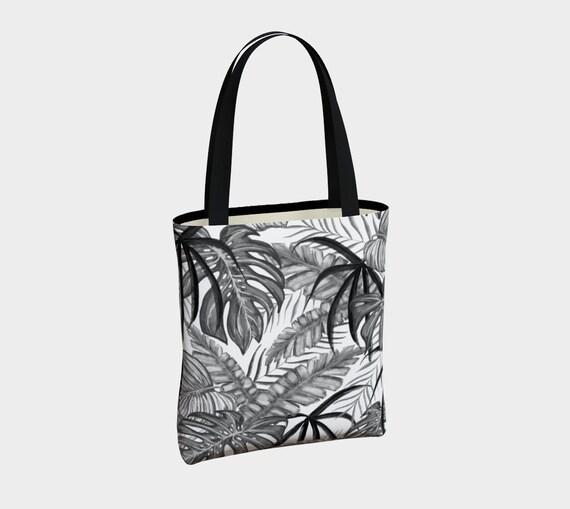 black and white palm leaves printed tote bag