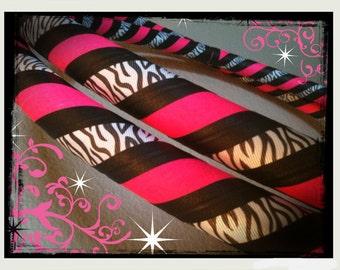 Exotic Safari Dance & Exercise Hula Hoop COLLAPSIBLE or Push Button - pink black zebra print