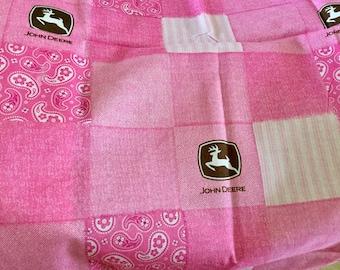 John Deere Cotton Fabric, Green And Pink Print,  2 pieces measurement in description