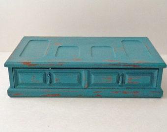 Vintage Distressed Turquoise Jewelry Box Valet