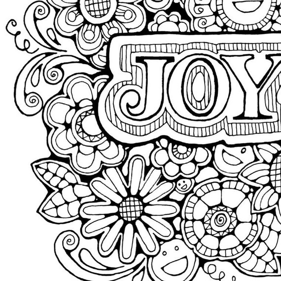 Adult colouring page original hand drawn art in black and for Joy coloring pages