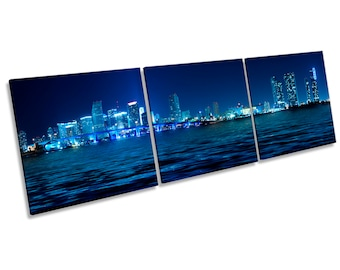 Miami Skyline Blue City Print CANVAS WALL ART Treble Panel Picture