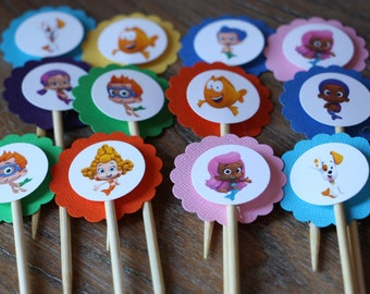 Bubble Guppies Themed Cupcake Toppers - Set of 12 (Gil, Molly, Goby, Deema, Nonny, Oona, Mr Grouper and Bubble Puppy)