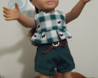 """18"""" doll Shorts set in Dark green and plaid 383E"""