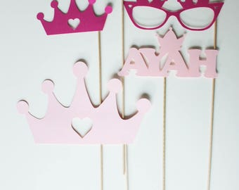 Set of 5 birthday Photobooth props - fuchsia and pink Princess