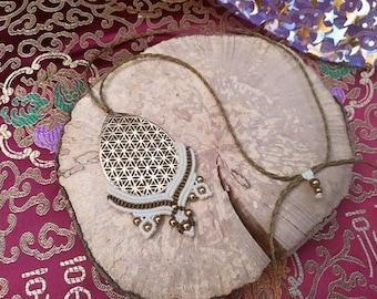 Macrame necklace necklace flower of life sacred geometry pendant gold flower of life meditation