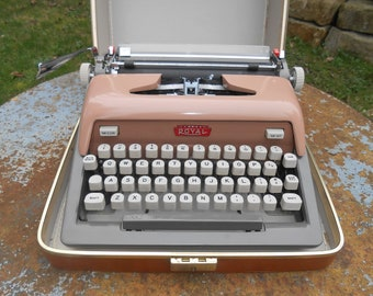 Vintage Typewriter Royal Futura 800 Pink and Gray Two Tone Portable Plastic Keys Working Condition with Carrying Case Wedding Guest Book