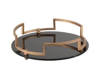 Emily Maxwell Luxury Round Tray - W 36 cm / D 36 cm / H 10 cm / 3.44 kg