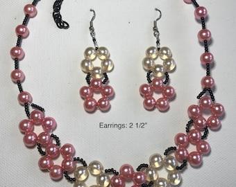 Flower Design Glass Beaded Necklace & Earring Set