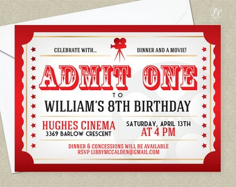 Red, Gold and Black Movie Night Birthday Invitation - Movie Ticket Invitation - Night at the Movies Invitation
