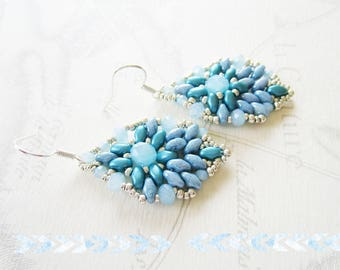 Woven earrings, denim blue, silver