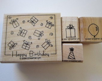 4 rubber stamps - HAPPY BIRTHDAY, present, party hat, and balloon stamps - Stampin Up