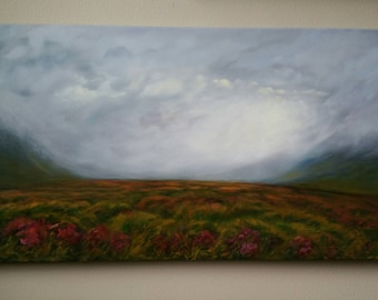 """Heather Valley Cloud Clearing Original Oil Landscape 36"""" by 18"""""""