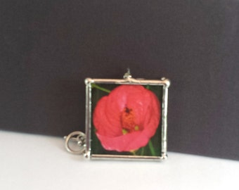 """Orange Poppy Flower Necklace, 2"""" Pendant; Simple Elegance; Gift Wrapping Available"""