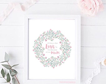 If I know what love is it is because of you mum Floral Mothers Day print