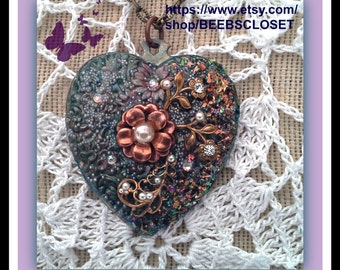 Blue Heart Necklace  Flowers Stamping Rhinestones, Pearls ,OOAK, Assemblage , Floral, Romantic, Love , Gift for that special someone