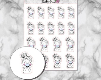 E001 Emagene Drinking Tea Planner Sticker- Hand drawn