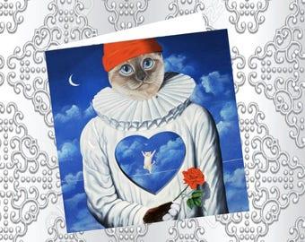 Cat, cat greeting card, cat: tightrope heart art