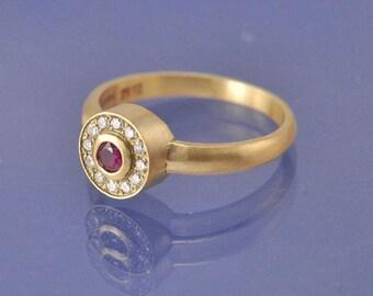 Ruby Diamond Cluster 18k Gold Ring