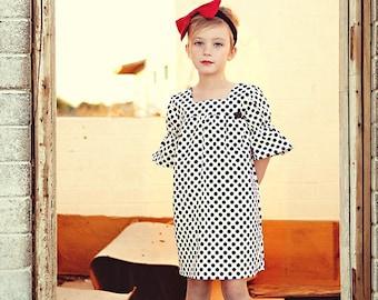 girls dress- baby dress- girls shift dress - black-white dress- polka dot dress- girls outfit- mod dress- boho kids dress-tunic- last one