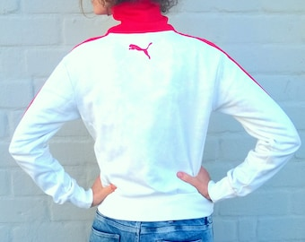 PUMA windbreaker, white 90s tracksuit, bomber jacket, sports jacket, activewear, small, red women jacket, 36, workout running jacket (GP79)