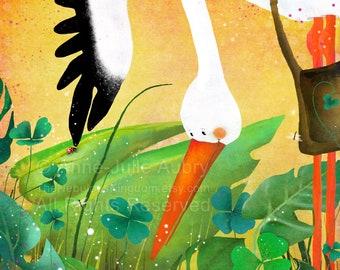 Stork and Ladybug - open edition print - Whimsical Art