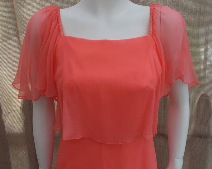 Vintage 70s Peach Chiffon Grecian Goddess Special Occasion Coral Melon Cottage Chic Womens Sheer Party Prom Maxi Wedding Dress