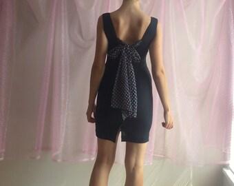 80s 90s / vtg / LBD / Polka Dot Dress / retro mod / 50s / mini dress / size Small Extra Small