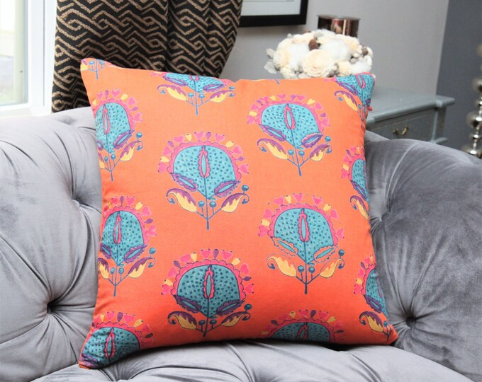 Textiles Stella Pillow Cover - Orange Purple and Black Geometric Linen Stripe - Designer Purple Pillow Cover