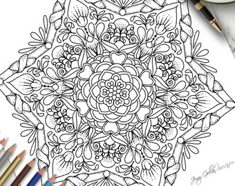 Printable Colouring Page Nature Tangle