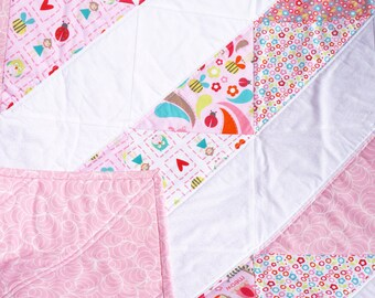 "Sale - Baby Girl Quilt - Modern Baby Quilt - Baby Blanket - Pink Baby Quilt - Crib Quilt - Baby Girl Blanket - Baby Bedding 38"" x 38"""