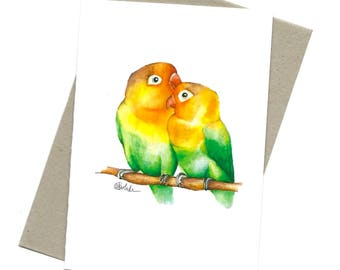 Lovebirds illustration / greeting card / A6 size