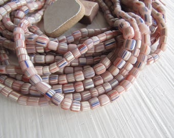 pink glass seed beads, multicolored  stripe small matte opaque ethnic spacer barrel tube, New Indo-pacific  3 to 6mm / 10 in strd, 7ab22-5